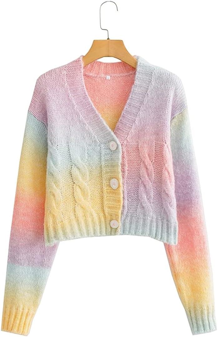 Women Rainbow mart Finally resale start Pattern Crop Knitted Vintage Long Sweater Cardigan