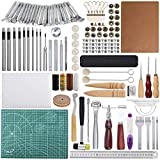 Leather Craft Tools Kit 110 Pcs Leather Working Tools and Supplies Leather Craft Stamping Tools Rivets Tools...