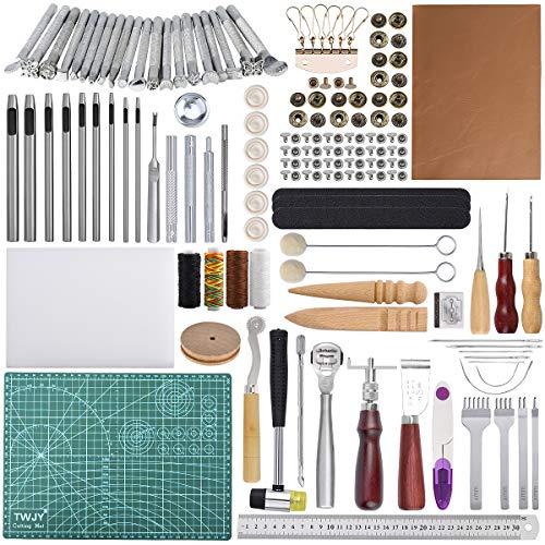Kit di strumenti per artigianato in pelle 110 pezzi Strumenti di lavoro in cuoio Strumenti per stampaggio artigianale