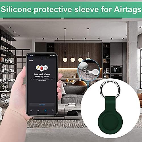 Hainice di Protezione della Pelle in Silicone Compatibile con la Copertura di Caso Airtags Tracker Bluetooth Copertura Airtags Accessori con Portachiavi Verde Apertura precisa