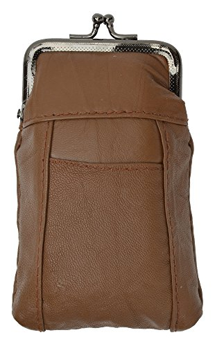 New Design Genuine Leather Cigarette Case with Lighter Pouch By Marshal (Brown)