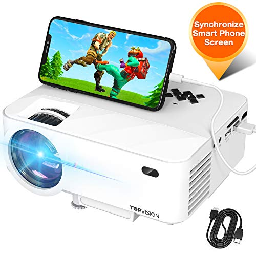 Mini Projector TOPVISION Projector with Synchronize Smart Phone Screen Upgrade to 3600L 1080P Supported 176quot Display 50000 Hours Led Compatible with Fire StickHDMIVGAUSBTVBoxLaptopDVD
