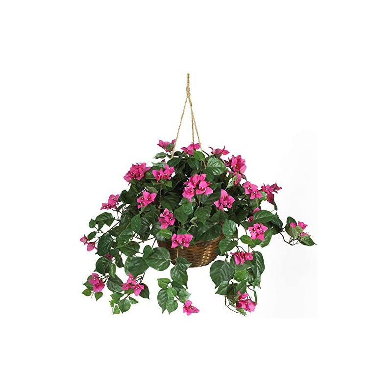 "silk flower arrangements nearly natural 6608 24in. bougainvillea hanging basket silk plant,beauty,10.25"" x 10.25"" x 17.5"""