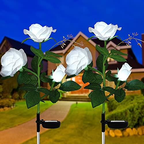 Luci a energia solare da giardino, confezione da 2 lampade a LED a energia solare da giardino con 6...