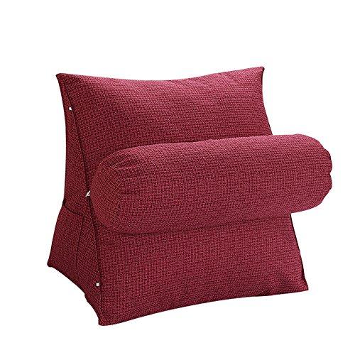 oamore Comodidad Almohada de Lectura Cojín de Soporte Lumbar Almohada de TV - para iPad Lectura electrónica y sofá (Vino Tinto, M:47x45x23cm)
