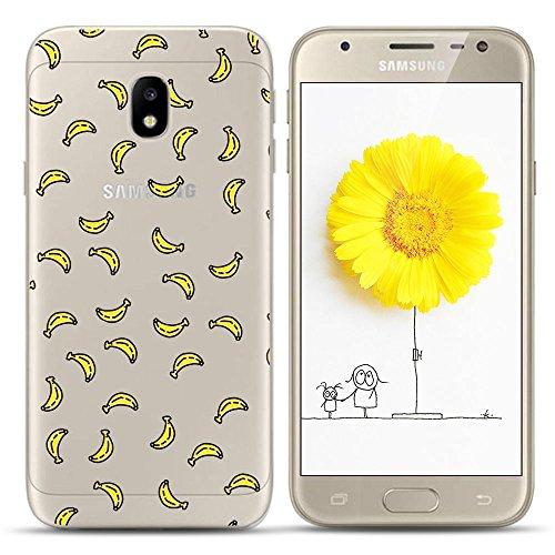Anfire Funda para Samsung Galaxy J7 2017, Silicona Carcasa de Suave, Gel TPU Transparente Flexible Case, Ultra Ligero Cubierta Trasero, Anti-Gota Protectora Caso Bumper Fundas - Plátanos
