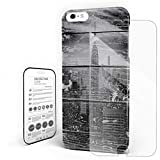 Empire State Building On Old Board Phone Case for iPhone 6 Plus/iPhone 6S Plus Stylish Design Slim Anti-Fall Hard Plastic Phone Cover with Tempered Gglass Screen Protector