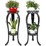 Ufine 2 Tier Metal Plant Stand Indoor Outdoor Iron Art Flower Pot Holder Tall Plant Display Rack for Corner Porch 2-Pack, Black