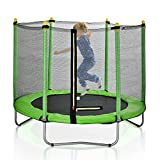 60' Round Outdoor Trampoline with Enclosure Netting (Green)