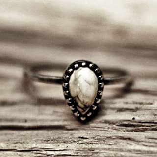Simple drop shape white buffalo turquoise silver ring