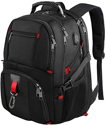 MATEIN Laptop Backpack Men & Women, 17.3 Inch Large Travel Hand Luggage Business Backpack with USB Charging Port, Waterproof Computer Laptop Rucksack Bag for Back to Office, Gifts for Father- Black