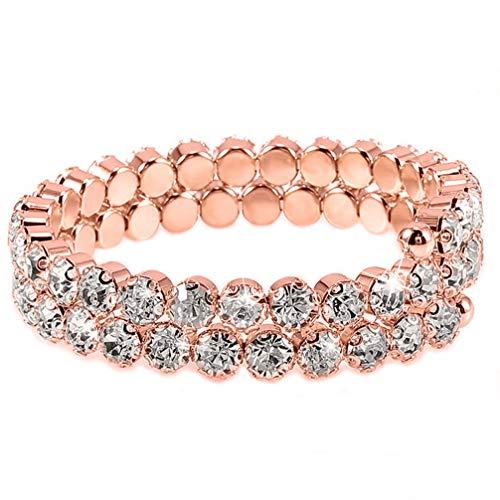 JOMSK Strass-Armband Hochzeits-Armreif Braut Armband Exquisite zweireihig Strass Armband armreif Einstellung Stretch Armband Frauen mädchen schmuck Geschenk