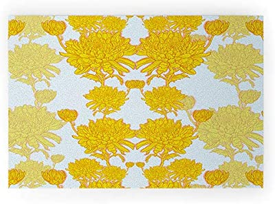 "Society6 72696-wcmatl Sewzinski Chrysanthemum in Yellow Welcome Mat, 36"" x 24"""