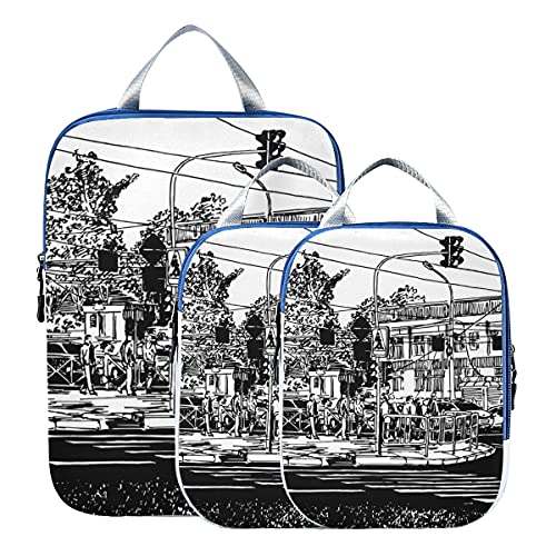 Organizzatori per imballaggio da viaggio Scena di strada in città con edifici Cubi per imballaggio a compressione Cubi per imballaggio bagagli espandibili per bagaglio a mano, viaggio (set di 3)