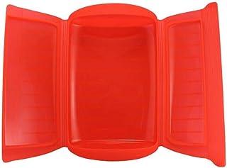 Kalavika Estuche de Vapor, Vaporera Microhondas, sin Bandeja, Silicona, Color Rojo, para 1-2 Personas (650 ml), Tamaño 25.5 x 13.5 x 6cm