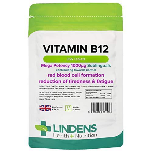 Lindens VITAMINA B12 1000mcg Sublingual Pastillas 365 PACK UK fabricante apto para Veganos y VEGETARIANOS