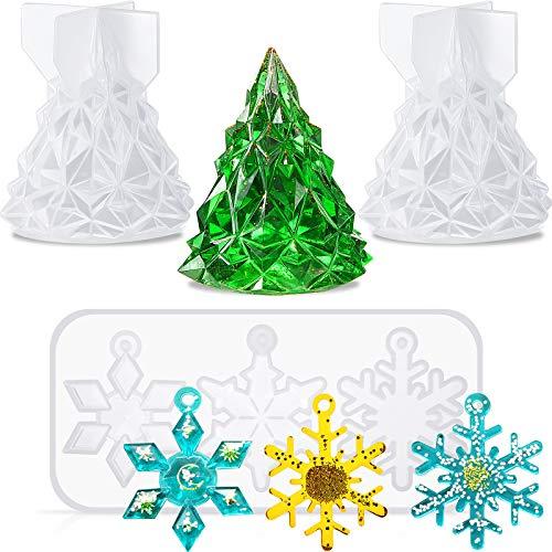 3 Stücke 3D Weihnachtsbaum Silikonformen Silikon Schneeflocke Gießform Set Silikon Seifenformen Schlafzimmer Behälter Formen für Weihnachtsdekoration Basteln DIY Harzherstellung Zubehör