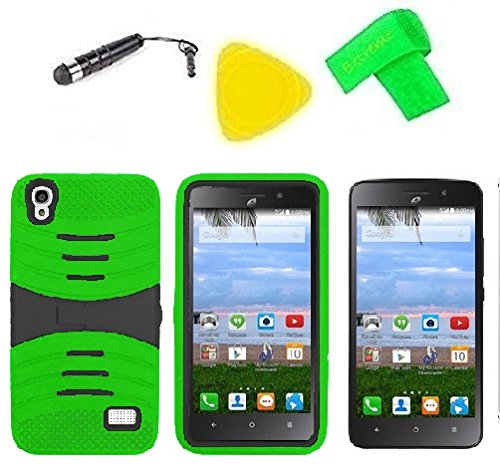 Heavy Duty Hybrid Phone Cover Case + Screen Protector + Extreme Band + Stylus Pen + Pry Tool For Straight Talk Tracfone NET10 Huawei Pronto LTE H891L / Ascend SnapTo G620-A2 LTE (S-Hybrid Green Black)