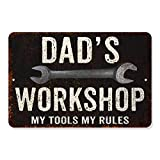 Dad's Workshop Sign Man Cave Rustic Décor Accessories Bar Beer Gift Dad Workshop Fathers Grill Gas Mechanic Men Motorcycle Plaque Pub Rod Room Rustic Mancave 8 x 12 High Gloss Metal 208120061074