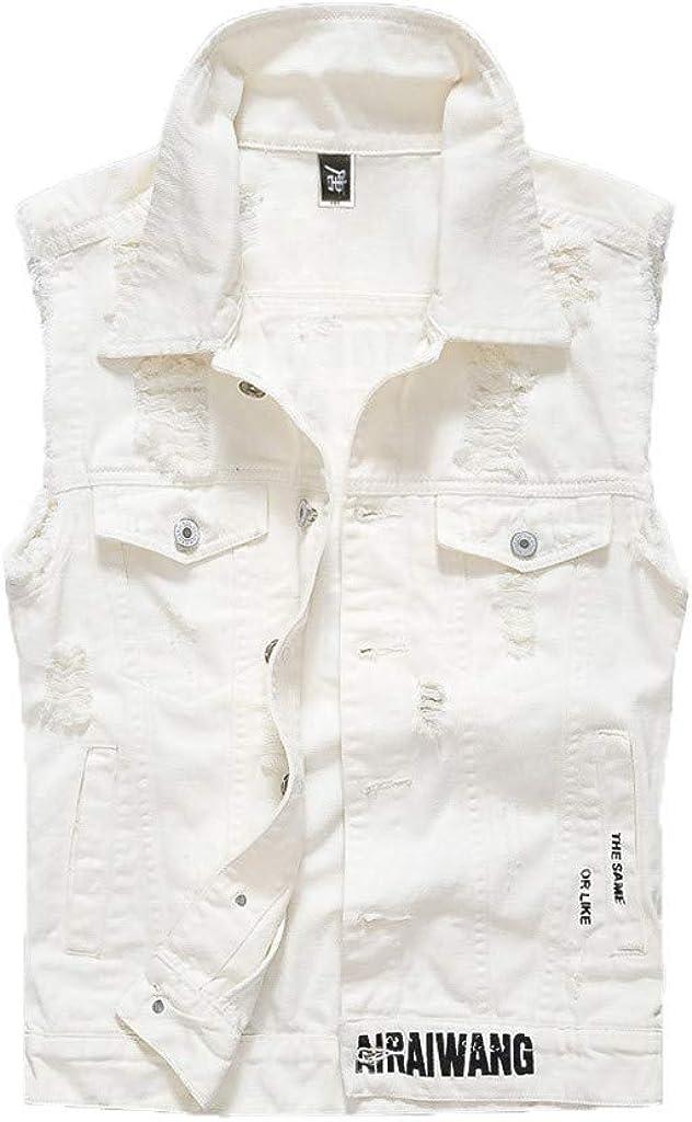 iQKA Men's Fashion Denim Vest Casual Cowboy Button Front Printed Jacket Blouse with Four-Pocket Big Tall Denim Coat Outwear
