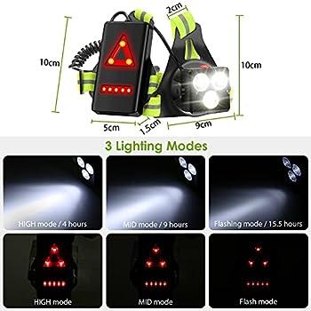 BRGOOD Lampe de course à LED USB rechargeable - Étanche - Pour sports d'extérieur - Angle d'éclairage réglable 70° - 530 lm - Bande réfléchissante à 360° - Légère