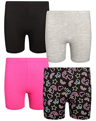 Only Girls Workout Dance Bike Short - Soft Touch Yummy Buttery Fabric (4-Pack), Size Medium / 8-10, Grey/Black/Neon/Pink