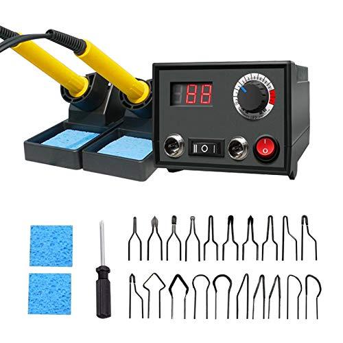hzexun 30W Máquina De Pirograbado Con Control De Temperatura Ajustable, Kit De Quema De Madera Mejorado Con 2 Bolígrafos Y 23 Puntas De Alambre Para Madera, Cuero Y Calabaza