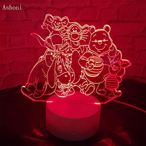 3D Illusion Lampe Led Veilleuse Grande Famille Mignon Winnie Ours Bourriquet Tigrou Amis Dessin Animé Usb Capteur Lampe De Table Pour Chambre Déco