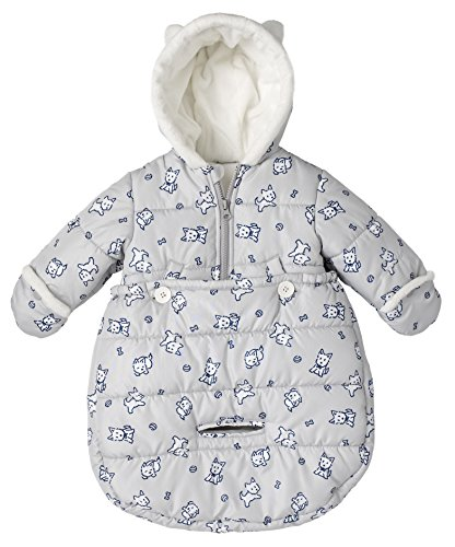 London Fog Newborn Infant Baby Girl Boy Puffer Carbag Pram Bag Snowsuit Bunting - Grey (0/6 Months)