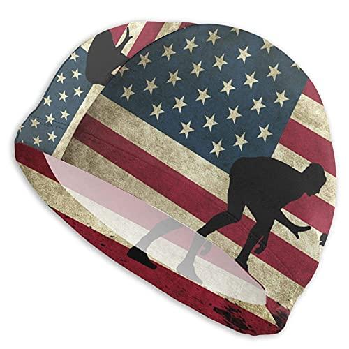 Gorro Natación Luchador de la Bandera Americana Gorro de...