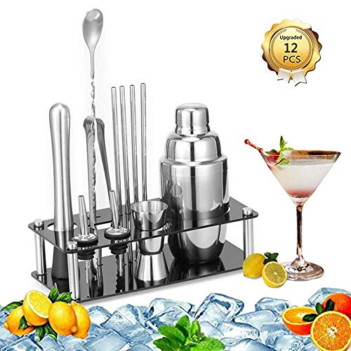 ANXIANG 24 oz cocktail shaker -20 sets - Tool Bar - Martini shaker, built-in filter, with transfer Mix sided clip, decorative mirror mojito kit - Christmas