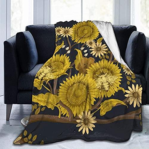 Manta de Lana súper Suave Manta cálida y cómoda Manta, Abejas y Flores Amarillas, Adecuada para Habitaciones con Aire Acondicionado y Cambios de Temporada