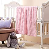CREVENT Cozy Fuzzy Fluffy Soft and Warm Minky +Sherpa Backing Baby Throw Blanket for Infant Toddler Crib Cot Stroller Gift for Baby Girls Winter All Season Use( 30'X40' Pink Dot)