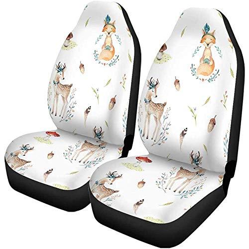 2 stuks autostoelhoezen schattige babyfoxen en Deer Animal Nursery voor kinderstoelen beschermer geschikt voor auto, SUV limousine, vrachtwagen