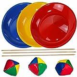 SchwabMarken 3 Platos de Malabares en Azul, Amarillo y Rojo, 3 Bastones para Nuestros Platos de Malabares y 3 Bolas de Malabares para lanzar o malabarismos a un Precio EXCEPCIONAL