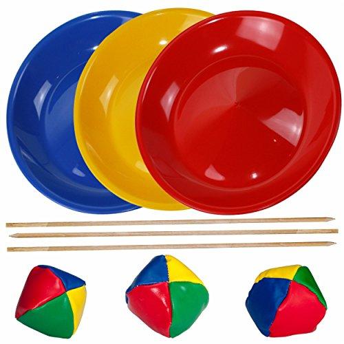 SchwabMarken Jonglierteller/Jonglierset/Spieleset/Geschicklichkeitsspiel mit 3 Jongliertellern 3 Stäben und 3 Jonglierbällen