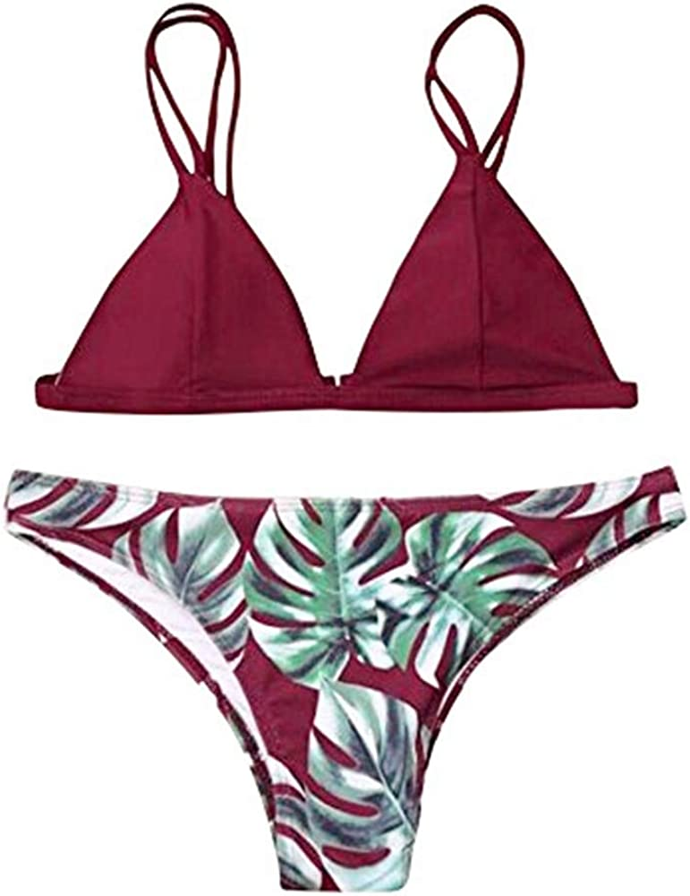 YOMXL Women Indefinitely Swimwear Bikini Set Push-Up 4 years warranty Print Leaves Bath Padded