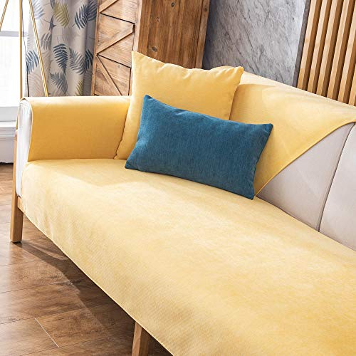YUTJK Anti-slip Quilted Sofa covers,Chenille Solid Color Sofa Cushion,Non-slip Sofa Cover,Sofa Towel for Armrests and Backrest,Sofa Crawling Mat-Yellow_90x160cm
