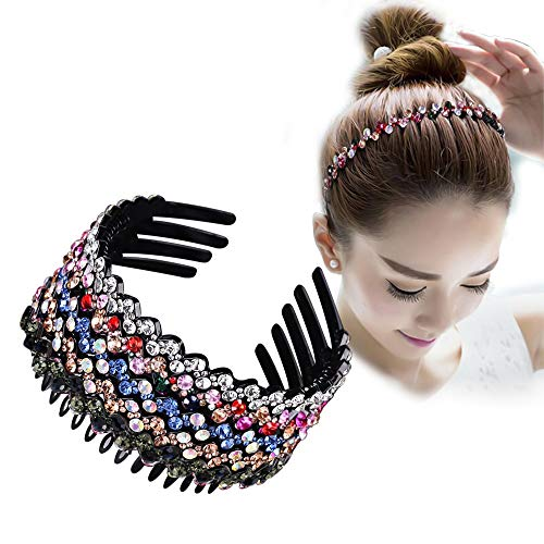 ZOCONE Wave Rhinestone Headbands, 5pcs Plastic Tooth Comb Headbands, Crystal Hair Loop Non-slip Wavy Hairbands for Women Girls