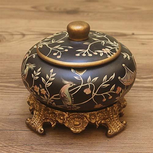 Y DWAYNE Decoración Retro Americana con Tapa cenicero Mesa de Centro Resina cerámica Tarro de Caramelo joyería Creativa Caja de Almacenamiento de Aperitivos
