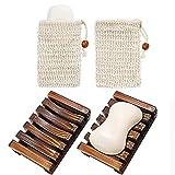 Riveryy Jabonera de Madera Natural 2 Piezas con Bolsa de Jabón De Sisal 2 Piezas Bambú Bandeja de Jabón para Ducha Sostenedor del Jabón de Madera para Cocina Baño Ducha, Accesorios para Baño