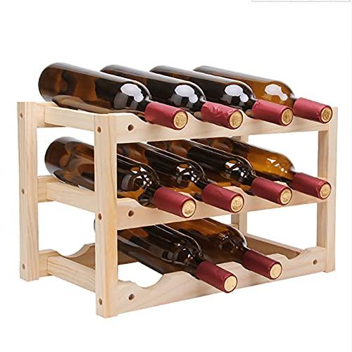 YANFEI Estante De Vino De Madera Maciza,Independiente Estante De Vino,Pequeño Apilable Estante para Botellas,Botella De 12wine Botellero Vino,para Bar Cocina-Madera 18x11x9inch