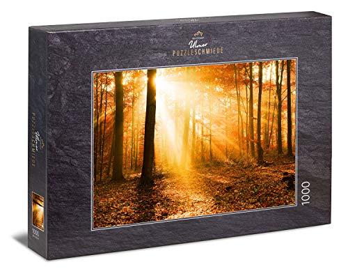 """Ulmer Puzzleschmiede """"Goldener Herbstwald"""" - Klassisches 1000 Teile Natur-Puzzle – poetische Herbststimmung als Puzzle: Das Licht der tiefstehenden Sonne durchflutet die Bäume im bunten Herbst-Wald"""