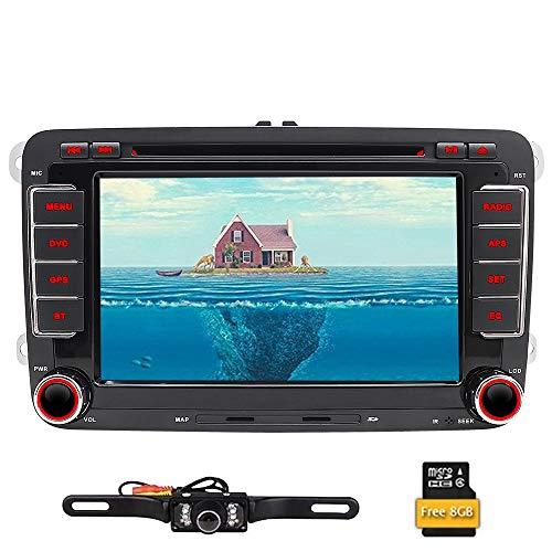 Reproductor de DVD, radio estéreo y navegador GPS doble din con pantalla de 7 pulgadas, para coche, pantalla táctil, bluetooth, unidad principal, cámara de marcha atrás