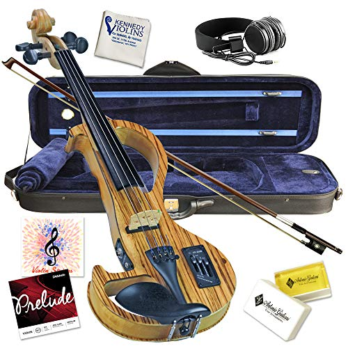Electric Violin Bunnel Edge Outfit 4/4 Full Size (Light Zebrano)- Carrying Case and Accessories Included - Headphone Jack - Highest Quality with Piezo ceramic pick-up By Kennedy Violins