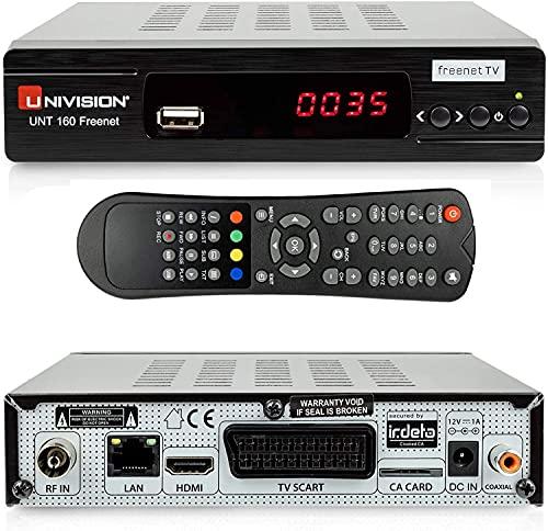 Univision UNT160 Freenet HD DVB-T2 terrestrischer Receiver ( IRDETO / HDMI / Scart / USB / Lan ) schwarz