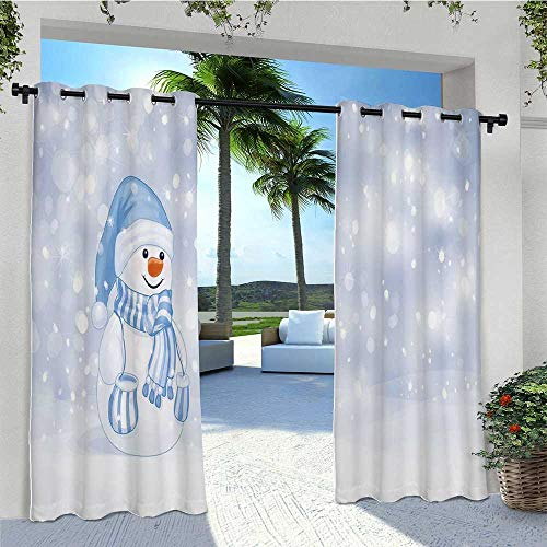 Indoor Outdoor Curtains Kids Toddler Design Happy Snowman Cartoon Style Figure Merry Christmas Theme Light Filtering Outdoor Curtains Gives A Nice Polished Look W120 x L84 Inch