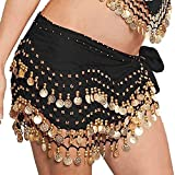 JMITHA Danza del Vientre con Monedas Doradas Colgando Baile Hip Bufanda Cadera cinturón Negro