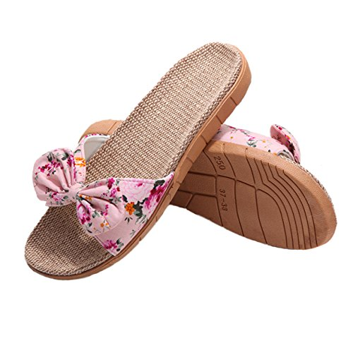 xsby Flip Flop Slippers for Women, Faux Fur Slide Slip on Flats Sandals with Arch Support Open Toe Soft Girls Indoor Outdoor Shoes Pink 35-36