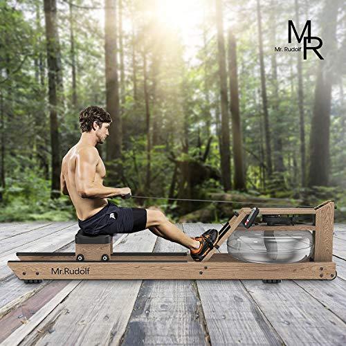 Mr Rudolf Water Rowing Machine with Bluetooth Monitor, Oak Wood Water Resistance Rower...